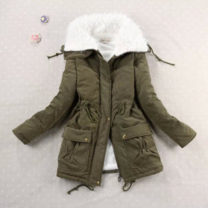 HYDIBER New 2017 Winter Coat Women Slim Plus Size Outwear Medium-Long Wadded Jacket Thick Hooded Cotton Fleece Warm Cotton Parka