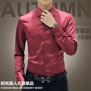 Plus Size 5XL 2017 New Men's Luxury Shirts Wedding Party Dress Long Sleeve Shirt Silk Tuxedo Shirt Men Mercerized Cotton Shirt