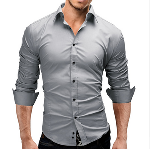 2018 Brand Fashion Male Shirt Long-Sleeves Tops Slim Casual Solid Color Mens Dress Shirts Slim Men Shirt 3XL