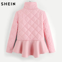 SHEIN Ladies Stand Collar Ruffle Hem Quilted Coat Casual Women Winter Coat Pink Autumn Zipper Long Sleeve Padded Coat