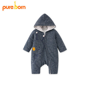 Pureborn Baby Romper Cartoon Rabbit Baby Clothes 2018 Cotton Jumpsuit Newborn Hooded Overall Baby Girl Boys Costumes Gift Brand