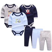 6pcs/lot Baby Girl Clothes Newborn Toddler Infant Autumn/Spring Cotton Baby Rompers+ Baby Pants Baby Clothing Sets