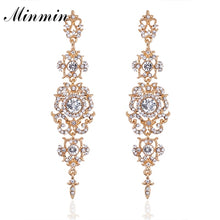 Minmin Silver Color Crystal Wedding Long Earrings Floral Shape Chandelier Earrings for Women Brides Bridesmaid Christmas EH182