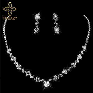 TREAZY New Silver Plated Crystal Choker Necklace Earrings Set Wedding Bridal Bridesmaid African Jewelry Sets