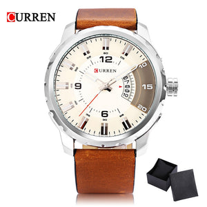 2017 New Sport Men Watch Luxury Brand CURREN Quartz Relogio Masculino Fashion Military Watches Genuine Leather Clock Men