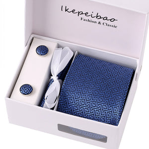 Ikepeibao Mens Wide Formal Ties Necktie Sets Cufflink Hanky Clips Custom Check Gravata Colar Pasta Ties for Business Silver Gray
