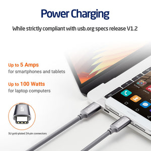USB-C to USB-C USB 3.1 Cable, ESR Data Sync fast Charging Type-C to Type-C Cable for MacBook, for Samsung S8, for LG G6 V20 G5