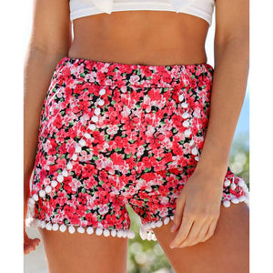 2017 Summer Style Casual Shorts Women Black Beach Pom Pom Ball Tassel Sunflower Print Short Feminino Elastic High Waist Shorts