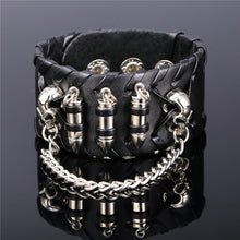 U7 Rock Punk Bracelets Bangles Cool Black/Brown High Quality Genuine Leather Stainless Steel 2017 New Gift For Men Jewelry P1062