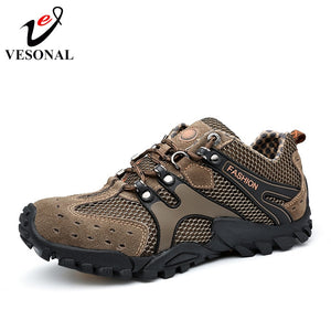 VESONAL Hot Sale Breathable Light Spring Summer Casual Sneakers Male Mesh Shoes For Men Cow Suede Leather Adult Walking Footwear
