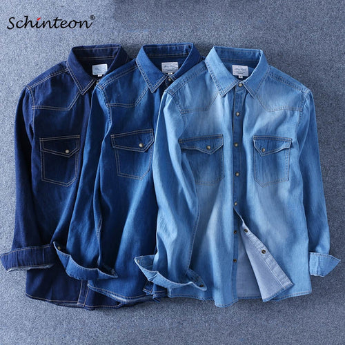 Spring Autumn Men Denim Thin Shirt Long Sleeve Soft 100% Cotton Two Pockets Slim Slight Elastic Jeans Cowboy 4XL Fast Shipping