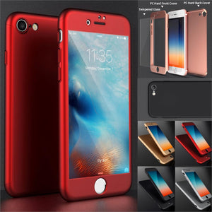 Roybens For iPhone 7 Case Luxury Full Body Case For iPhone 6 6S 7 Plus Hard PC 360 Degree Temper Glass Screen Protector Cover