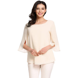 ACEVOG Women's Blouse Blusas Summer Autumn Casual Flare Sleeve O Neck Solid Loose Pullover Feminino Chiffon Blouse Shirt Tops