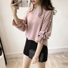 Plus Size Chiffon Shirt Female 2018 Fashion Blusa Beaded Tops Autumn Long-sleeved Solid Color Women Blouse Women Clothing