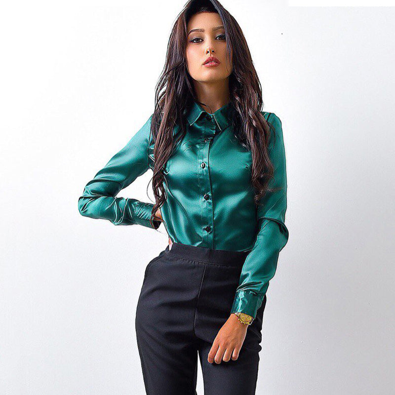 MOARCHO Women silk satin blouse button lapel long sleeve shirts ladies office work elegant female Top high quality blusa