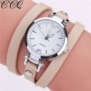 CCQ Brand New Fashion Luxury Leather Bracelet Watch Ladies Quartz Watch Casual Women Wristwatches Relogio Feminino Hot Selling