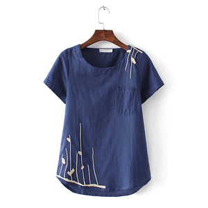 L - 4XL 4 Colors 2017 New Casual Girl Shirt Plus Size Women Summer Embroidery Short Sleeve Linen Shirts Loose Tops Women Blouses