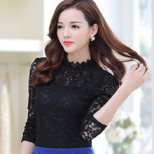 Spring Autumn Women Tops Fashion Lace Blouse Long Sleeve Slim Body Floral Shirt Elegant Plus Size Lace Top blusas femininas