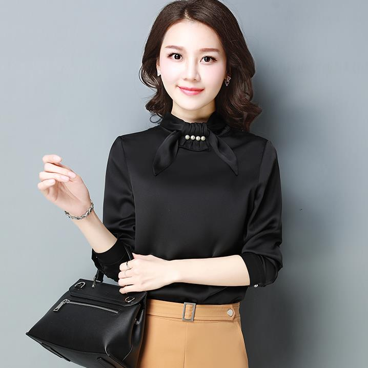High Quality Tops 2018 New Women Silk Satin Blouses Female Long Sleeve Shirts Office Lady Elegant Bow Beading Blouse CM2610