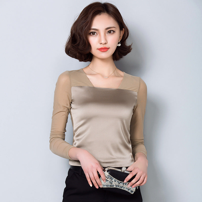 2016 Autumn long sleeve silk shirt women satin blouses women mesh shirt body shirt lady inner mesh tops bright satin tops