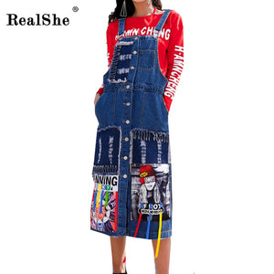 RealShe Appliques Women Denim Dress 2017 New Sleeveless Women Autumn Dresses Hottest Blue Hole Pin Skinny Women Tops Streetwear
