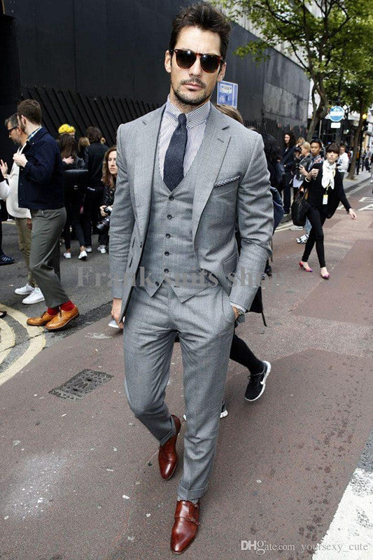 New Arrival Custom made Light Gray Tailcoat Men Suit Set Slim Wedding Suits  Mens gray Groom Tuxedos( jacket+Pants+vest+tie)