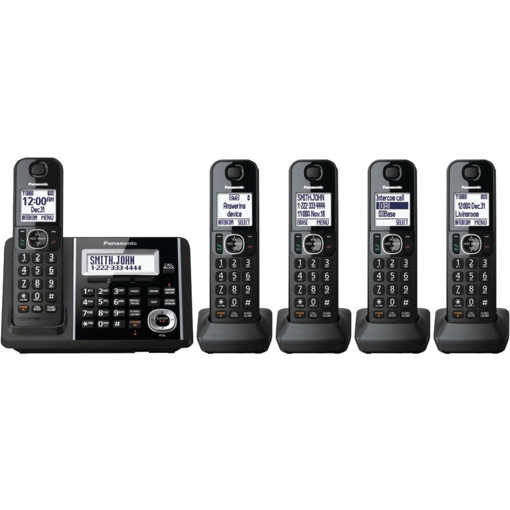 Panasonic KX-TGF345B DECT 6.0 1.9 GHz Digital Cordless Phone (5 Handsets) (