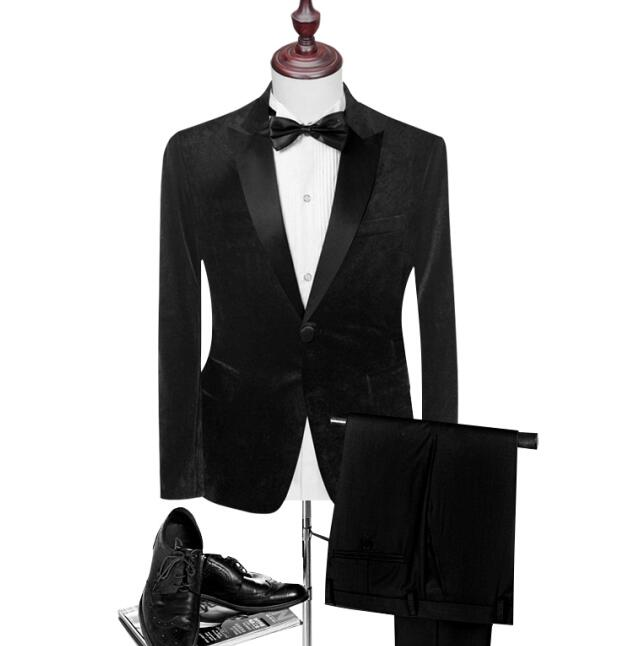 Classic Black Shawl Lapel Black Velet Groom Suits Custom Men Suits Wedding/Prom/Dinner Groom Tuxedos (Jacket+Pant+Bowtie)