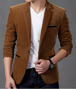2020 mens blazer brand clothing casual suit Slim Jacket Single Button corduroy blazer men dress suits Terno Masculino plus size