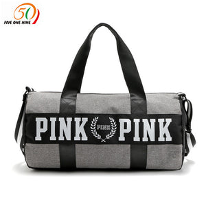 fashion girl stripe duffle bag pink Victoria beach shoulder bag large capacity secret Overnight weekender vs bag