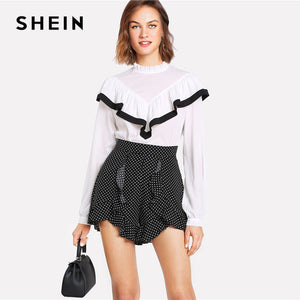 SHEIN Casual Ruffle Trim Polka Dot Shorts Women Summer High Waist Zipper Fly Wide Leg Shorts 2018 New Asymmetrical Shorts