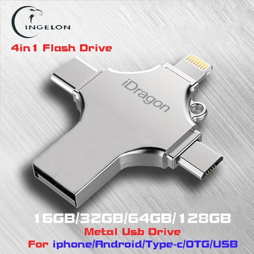 Ingelon 4in1 usb flash drive 16gb 32gb pendrive 128gb metal memoria usb stick otg type-c micro usb for iphone ipad pen drive 64g