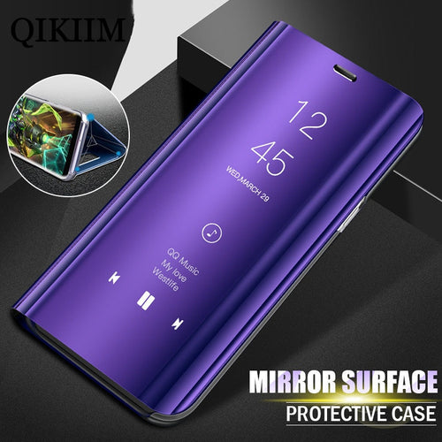 Luxury Smart View Stand Flip Case For Samsung Galaxy S9 S8 Plus Cover For Samsung S7 S6 Edge Note 8 Phone Cases Free Screen Film