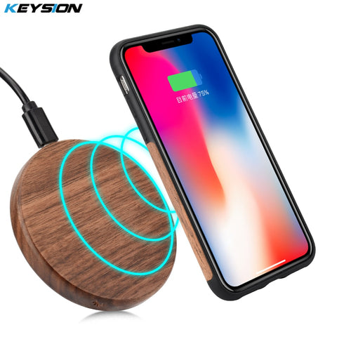 KEYSION 7.5W Qi Wireless Charger Wood fast Wireless Charger mini Charging Pad for iPhone X 8 for Samsung Galaxy Note 8 S8 S7Edge