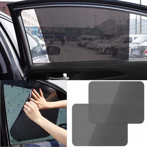 Auto Care 2Pcs Black Side Car Sun Shades Rear Window Sunshades Cover Block Static Cling Visor Shield Screen Interior Accessories