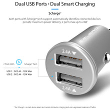 Mini Dual USB Car Charger Adapter 4.8A Metal Car-Charger Mobile Phone Car USB Charger Auto Charge 2 Port 24W for Samsung iPhone