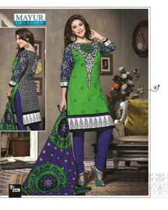 Cotton Printed Dress Material (Parrot Green & Dark Blue)