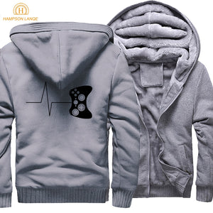 Adult Game Sweatshirts Hoodies Men For Gamers Funny Gaming Video Print 2018 Winter Warm Fleece Mens Thicken Brand Men's Jackets