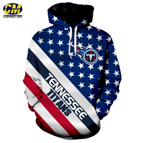 American flag printed cool 3D hooded sweatshirt NFL pullover Tennessee Titans and Wholesale EU SIZE