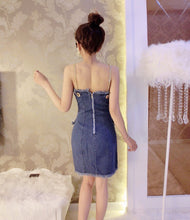 Amolapha Sexy Women Backless Denim Dress Summer Buttons Chains Jeans Dresses for Female Woman