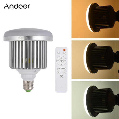 Andoer E27 50W LED Photo Studio Light Bulb Lamp Adjustable Brightness 3200K~5600K w/Remote Control Video Light Bulb AC185-245V