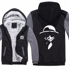 Anime Monkey D Luffy Hoodies Sweatshirt Men Casual Warm Liner Mens Fleece One Piece Sweatshirt Jacket High Quality