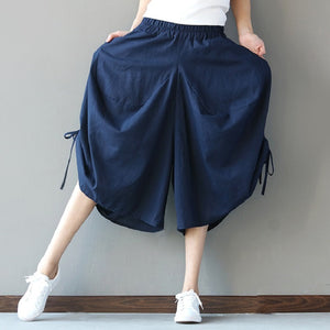 Anteef cotton linen vintage print plus size casual loose summer trousers women wide leg harem pants 2018 pantalon femme