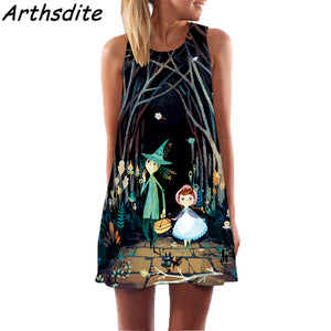 Arthsdite 2018 Fashion Women Summer Dress 3D Floral Print Creative Beach Dress Bohemian Sweet Mini Dress Large Size Vestidos 1