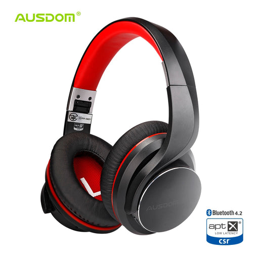 Ausdom AH3 aptX Low Latency Wireless Headphones Bluetooth 4.2 Over-Ear Foldable Bass Boosted Headset Lip Sync Sound for Gaming