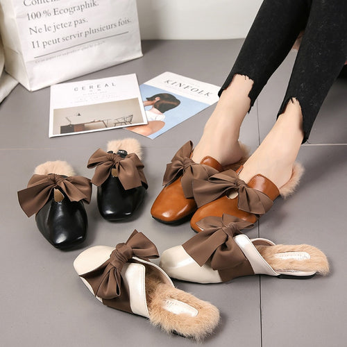 Autumn winter new women's shoes bow Half drag women's casual flat with single shoes wild Plus velvet flat shoes.