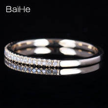 BAIHE Solid 14k Yellow Gold Certified 100% Natural Diamonds Engagement Wedding Ring Women's Jewelry Resizable