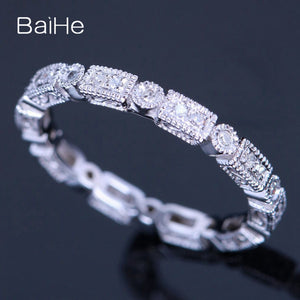 BAIHE Sterling Silver 925 0.2CT Certified H/SI3 Round Genuine Natural Diamonds Wedding Women Office/career Fine Jewelry Ring