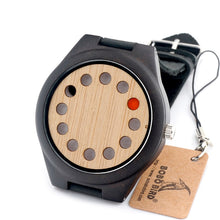 BOBO BIRD Eco-friendly Wooden Wristwatch Mens Top Luxury Brand Unique Holes Design Leather Quartz Watch with Leather Strap