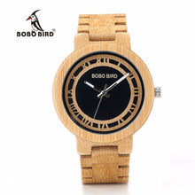 BOBO BIRD Luxury Brand Men Wood Watches Original Unique Design Bamboo Quartz Wooden Watch relogio feminino C-N19